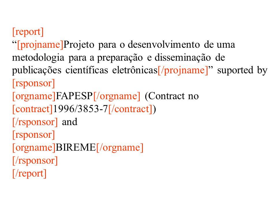 [report] [projname]Projeto para o desenvolvimento de uma. metodologia para a preparação e disseminação de.